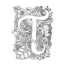 instant digital download coloring page letter t