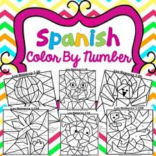 color by number sheets for practicing spanish numbers and colors