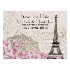 wedding postcards vintage eiffel tower parisian style save the date postcard