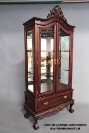 wood and glass cabinet chippendale style mahogany wood 2 door glass display cabinet with 1