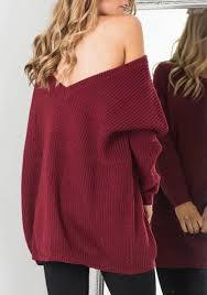 oversized shoulder sweater burgundy plain v back shoulder backless oversized casual