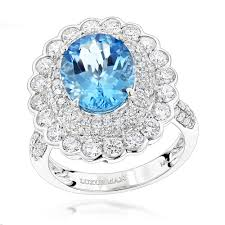 rings topaz images Ladies diamond cocktail rings blue topaz engagement ring 2 2ct jpg