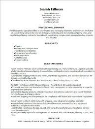 Logistics Resume Summary Logistics Resumes Resume Sample 22 Global Logistics Resume Career
