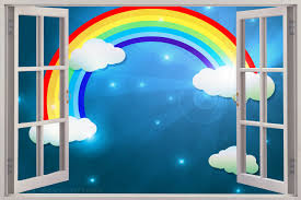 28 rainbow wall mural wallies rainbow wall stickers 42 rainbow wall mural huge 3d window view childrens rainbow wall sticker mural