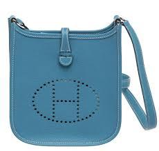 hermès evelyne ii tpm bag blue jean epsom leather palladium