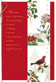 Christmas Invite Cards Blooms And Birds For A Special Friend Christmas Card Greeting