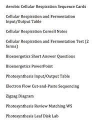 biology bundled unit cellular respiration bioenergetics and