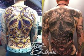 tattoos by david ekstrom skull backpeice in progress