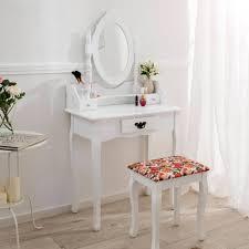 coiffeuse blanche si e avec miroir inclus coiffeuse meuble avec miroir et 3 tiroirs tabouret en blanc tectake