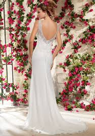 wedding dress chiffon with embroidery and crystals style 6798