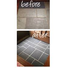 painted slate floor in entryway using annie sloan chalk paint in graphite on tiles and french