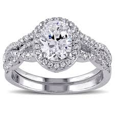 cubic zirconia halo engagement rings miadora sterling silver oval and cut cubic zirconia halo