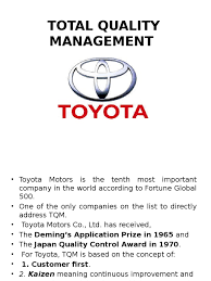 toyota company limited total quality management toyota ppt pptx lean manufacturing