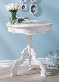 how to decorate an accent table romantic carved wood accent table in white distressed finish