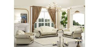 White Living Room Set Versace Living Room Set In Ivory Italian Leather By Esf