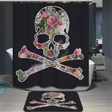 halloween shower curtain set sugar skull bathroom set sugar skull shower curtain sugar skull