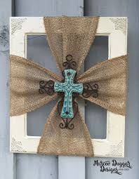 ceramic cross burlap trim wood frame by marceeduggardesigns