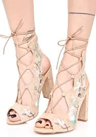floral embroidered lace up heels dolls kill