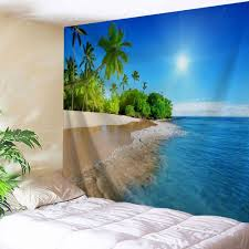 Bedroom Wall Tapestries Beach Scenery Bedroom Decor Wall Tapestry Lake Blue W Inch L