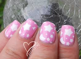 Cute Pink Pictures by Prettyfulz Super Cute Pink U0026 White Star Nail Art Design For Short