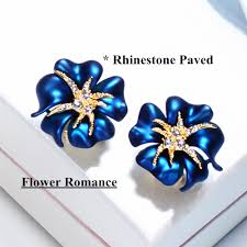navy blue earrings viennois gold color flower stud earrings for woman rhinestone