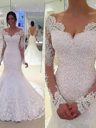 trumpet mermaid v neck long sleeves lace court train tulle wedding