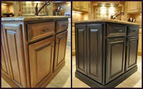 simple painted brown kitchen cabinets before and after image of