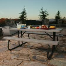 Picnic Table With Benches 6 Ft Folding Picnic Table Putty