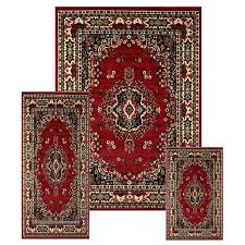 Area Rug Mat Traditional Medallion 3 Pcs Area Rug Bordered