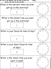 telling time daily activities worksheets enchantedlearning com