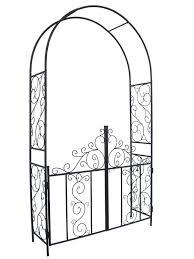 amazon com 1 go steel garden arch with gate 7 u00275