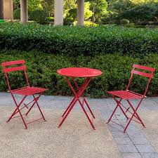 Folding Bistro Table And 2 Chairs Sundale Outdoor 3 Pcs Steel Folding Bistro Set Patio Table And 2