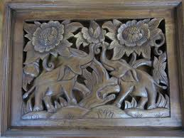 funky stuff carved teak timber wooden elephant flower wall