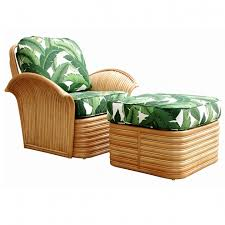 Chair And Ottoman Sale Best Rattan Fan Arm Lounge Chair Ottoman Set For Sale At 1stdibs
