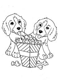 Two Little Dog Eating Popcorn Coloring Page Two Little Dog Eating Coloring Page Dogs