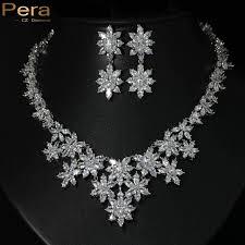 bridal choker necklace images Pera cz uxury silver color cubic zirconia paved romantic big jpg