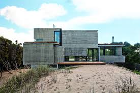 bare concrete beach house