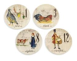 Williams Sonoma And Pottery Barn 12 Days Of Christmas Salad Dessert Plates Set Of 12 Williams Sonoma