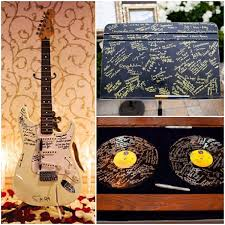 signing rocks wedding guest book rock theme ideas guitar turntable sign in