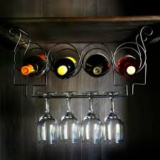 under the cabinet 4 bottle wine rack and glass rack antiqued black
