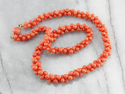 coral bead necklace images Vintage graduated branch coral beaded necklace jpg