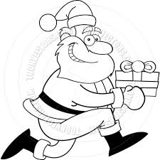 cartoon santa claus with a gift black and white line art by