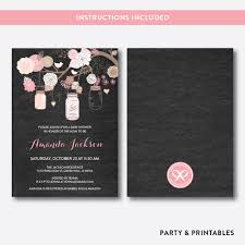 floral mason jar pink chalkboard baby shower invitation editable