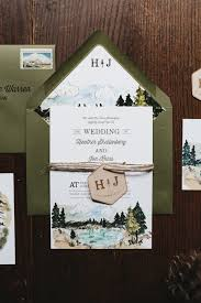 Wedding Invitations With Free Response Cards Illustrated Lake Tahoe Inspired Wedding Invitations