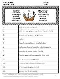 mayflower voyage thanksgiving reading comprehension worksheets