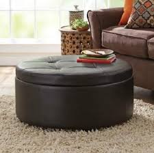 Tufted Leather Cocktail Ottoman by Coffee Table Large Round Leather Ottomans Coffee Tables