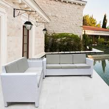 White Rattan Garden Sofa Set Corner Furniture For Outdoor And - Outdoor white wicker furniture