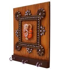 key holder wall bigcart brown wooden handmade ganesha 3 key holder wall hanginng