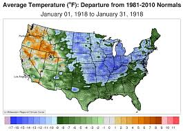temperature map usa january winter weather of december 1917 and january 1918