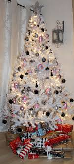 black white and silver tree decorations white